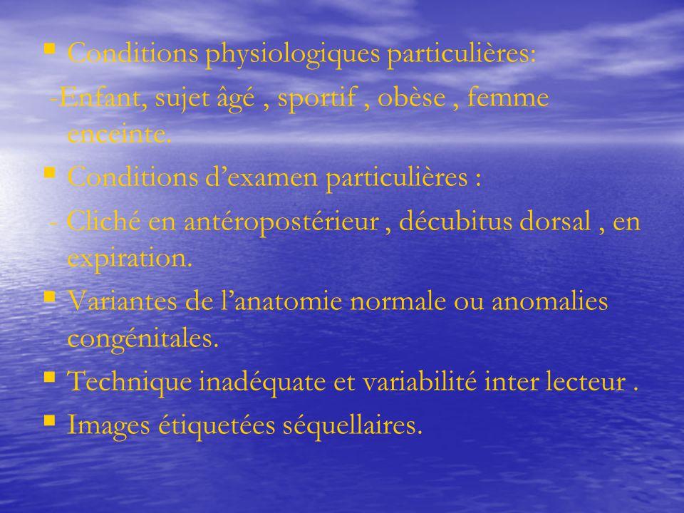   Conditions physiologiques particulières: -Enfant, sujet âgé, sportif, obèse, femme enceinte.   Conditions d'examen particulières : - Cliché en a