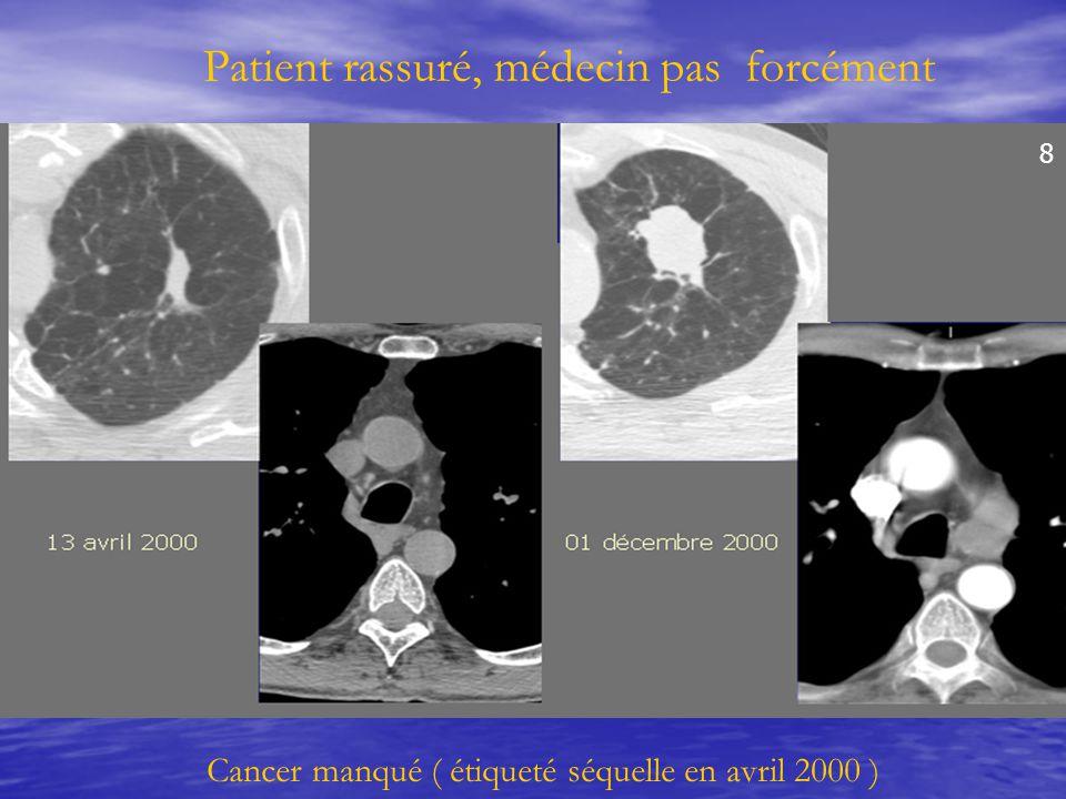 Patient rassuré, médecin pas forcément Cancer manqué ( étiqueté séquelle en avril 2000 ) 8