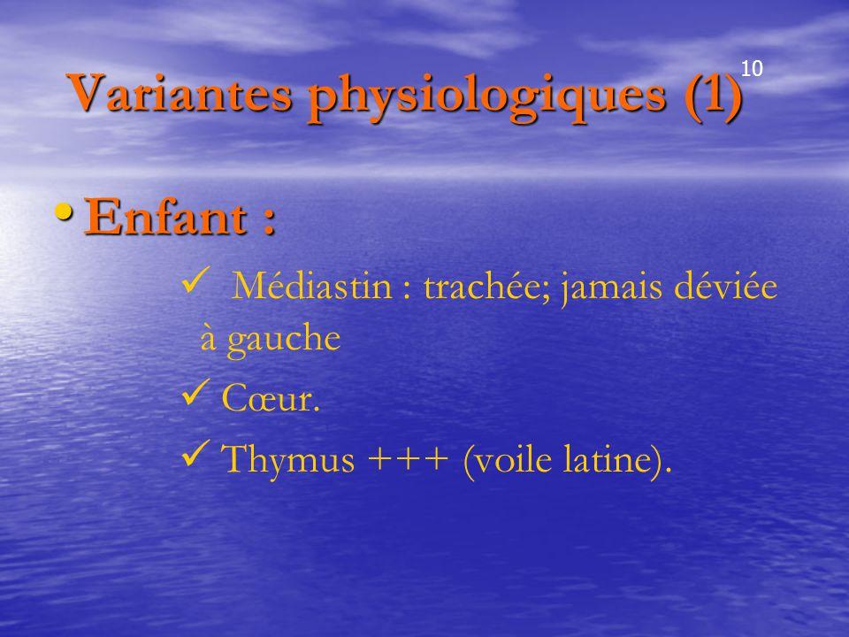 Variantes physiologiques (1) Variantes physiologiques (1) Enfant : Enfant : Médiastin : trachée; jamais déviée à gauche Cœur. Thymus +++ (voile latine