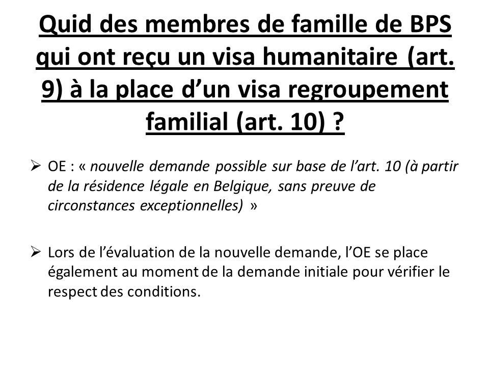 Quid des membres de famille de BPS qui ont reçu un visa humanitaire (art.