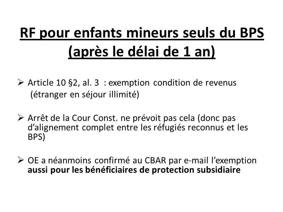 RF pour enfants mineurs seuls du BPS (après le délai de 1 an)  Article 10 §2, al.
