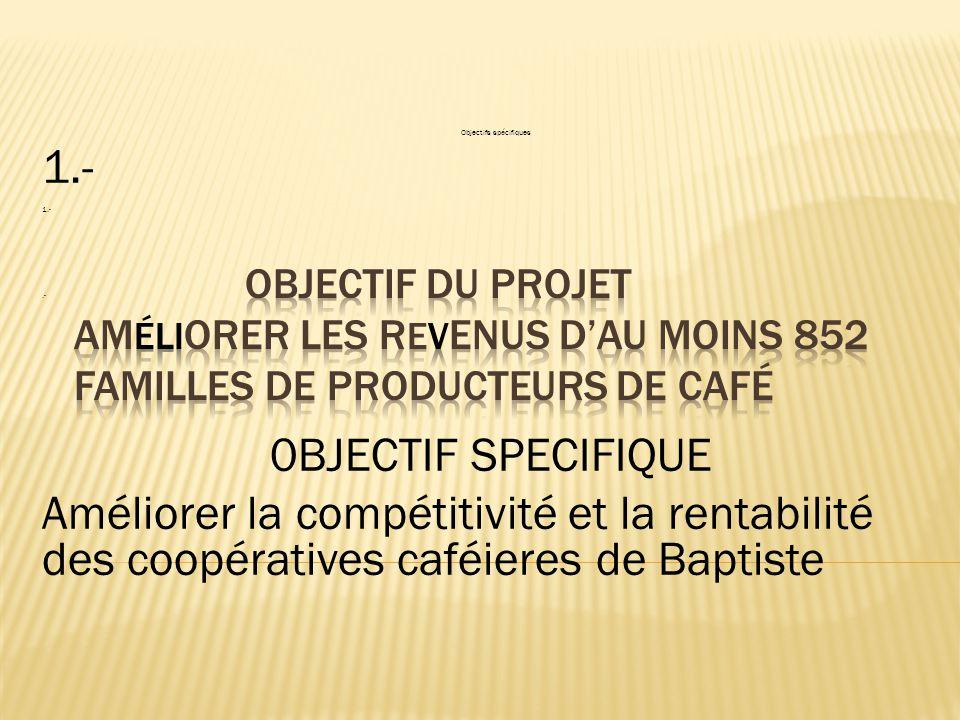 Objectifs spécifiques 1.-.- 0BJECTIF SPECIFIQUE Améliorer la compétitivité et la rentabilité des coopératives caféieres de Baptiste