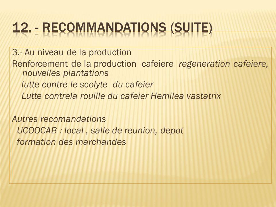 3.- Au niveau de la production Renforcement de la production cafeiere regeneration cafeiere, nouvelles plantations lutte contre le scolyte du cafeier