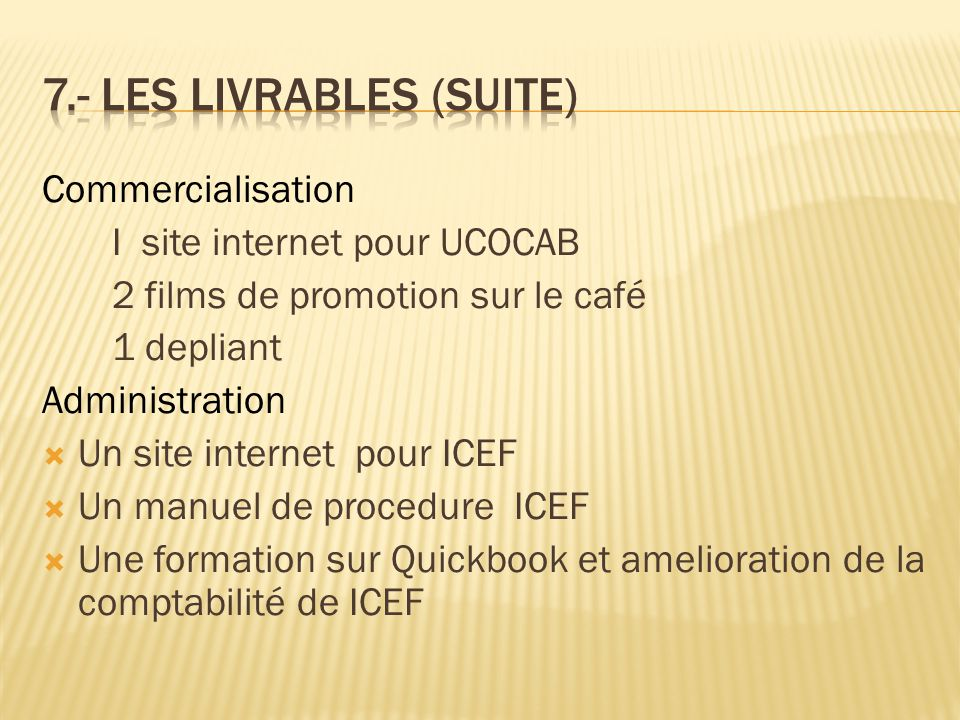 Commercialisation I site internet pour UCOCAB 2 films de promotion sur le café 1 depliant Administration  Un site internet pour ICEF  Un manuel de p