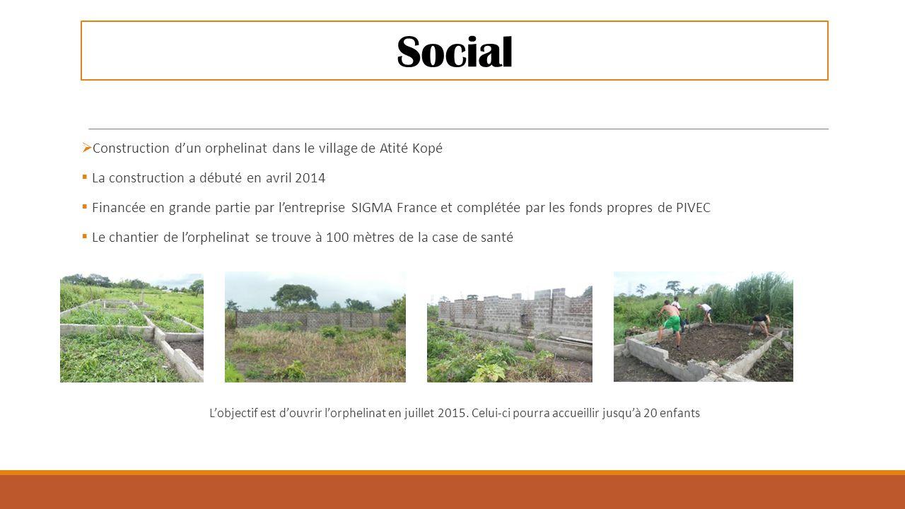 Social  Construction d'un orphelinat dans le village de Atité Kopé  La construction a débuté en avril 2014  Financée en grande partie par l'entrepr
