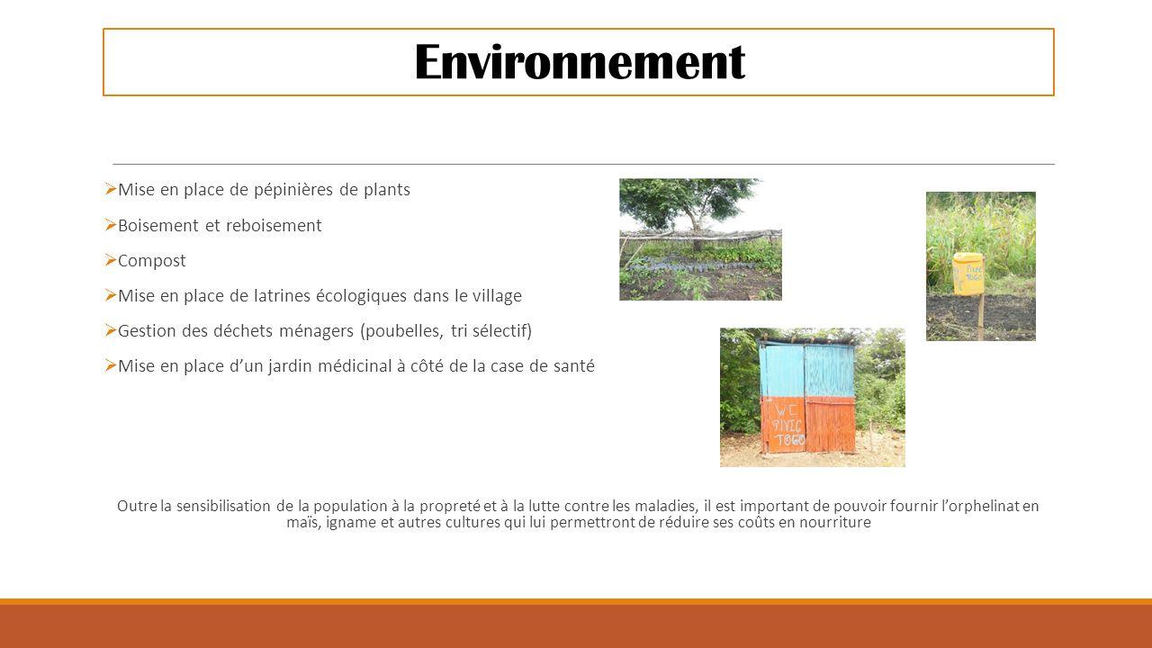 Environnement  Mise en place de pépinières de plants  Boisement et reboisement  Compost  Mise en place de latrines écologiques dans le village  G