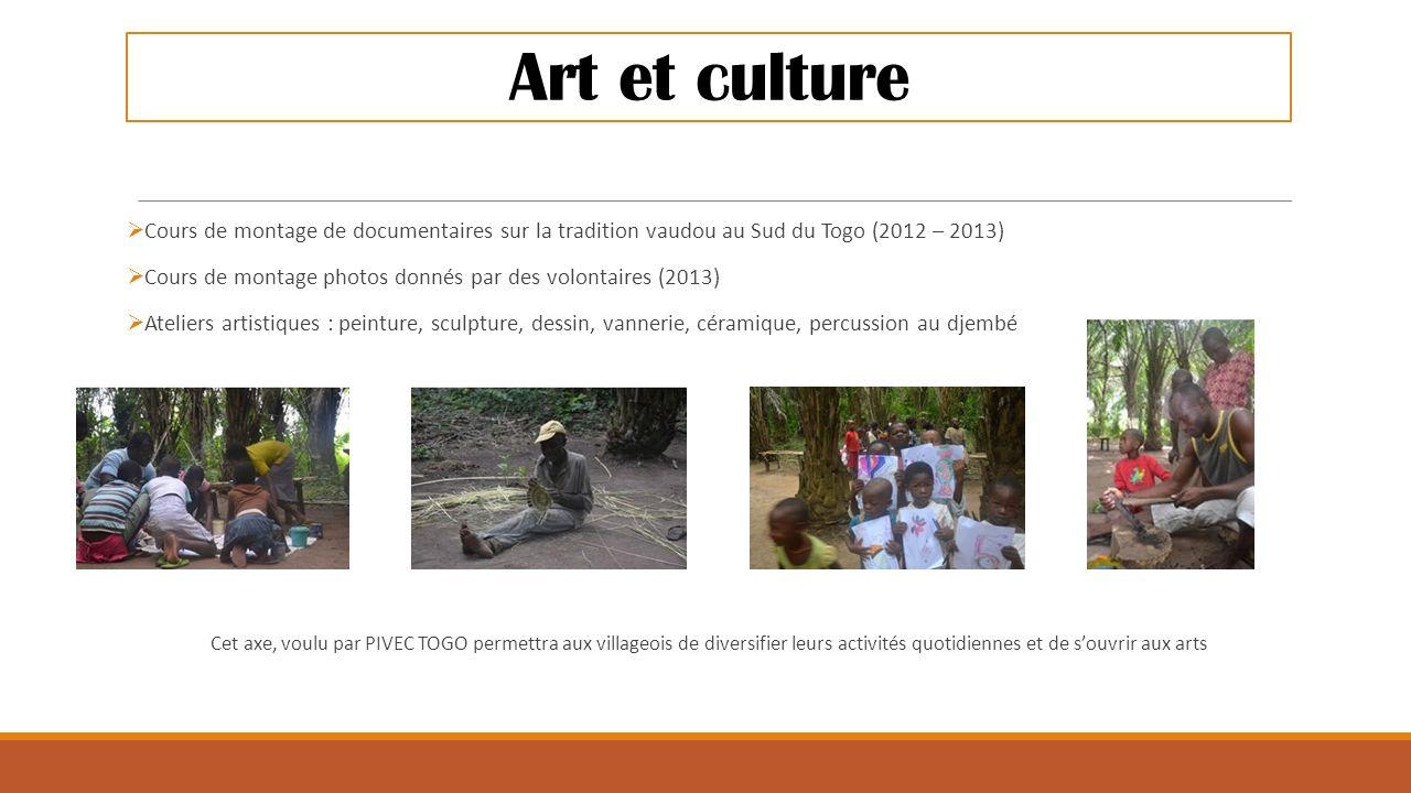 Art et culture  Cours de montage de documentaires sur la tradition vaudou au Sud du Togo (2012 – 2013)  Cours de montage photos donnés par des volon
