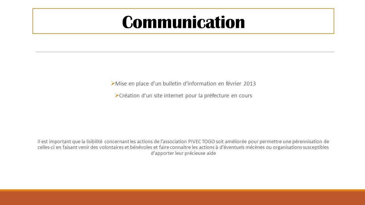 Communication  Mise en place d'un bulletin d'information en février 2013  Création d'un site internet pour la préfecture en cours Il est important q