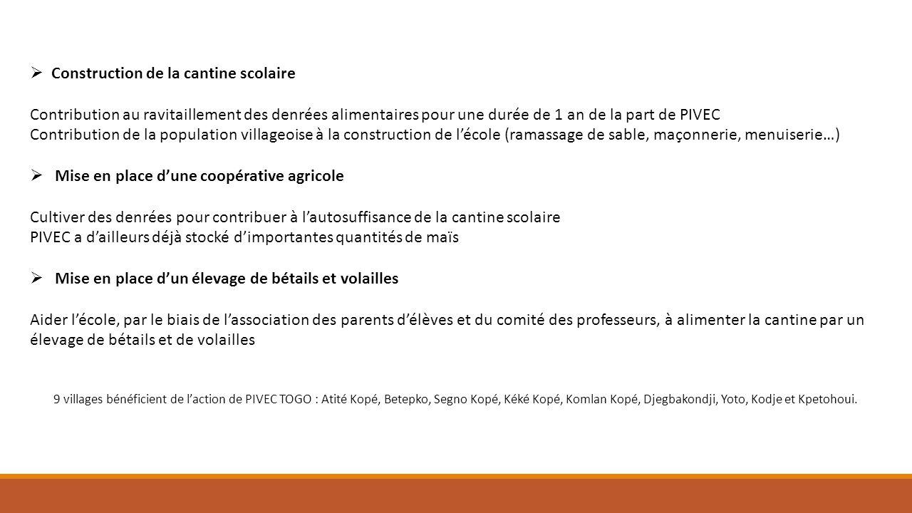 Construction de la cantine scolaire Contribution au ravitaillement des denrées alimentaires pour une durée de 1 an de la part de PIVEC Contribution