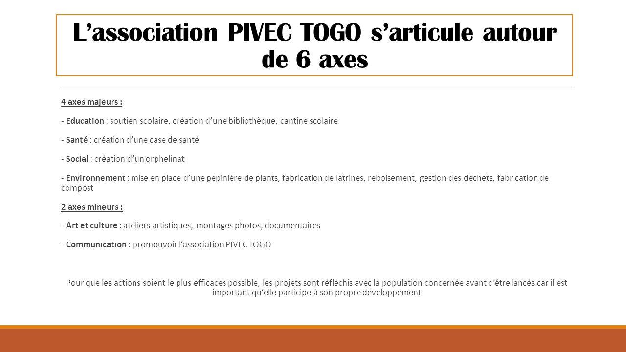 L'association PIVEC TOGO s'articule autour de 6 axes 4 axes majeurs : - Education : soutien scolaire, création d'une bibliothèque, cantine scolaire -