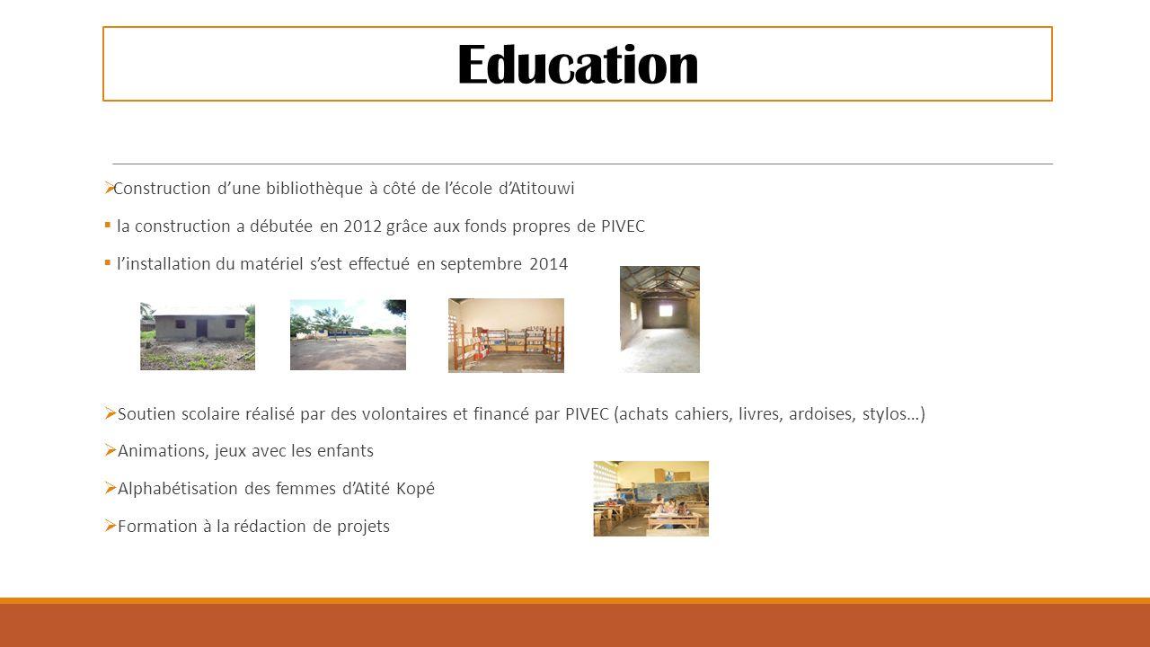 Education  Construction d'une bibliothèque à côté de l'école d'Atitouwi  la construction a débutée en 2012 grâce aux fonds propres de PIVEC  l'inst