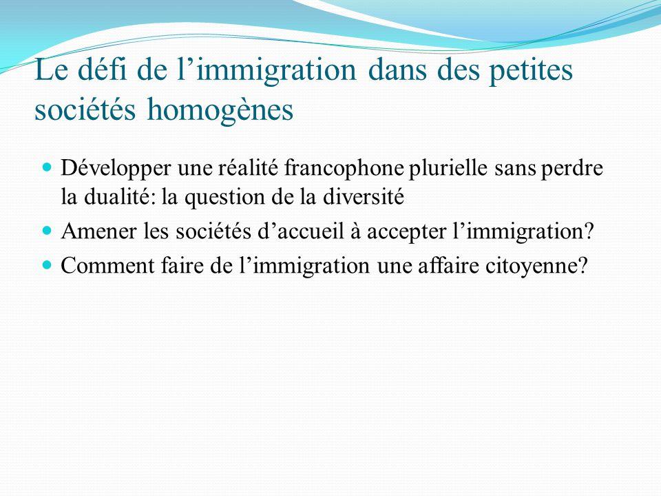 Le défi de l'immigration dans des petites sociétés homogènes Développer une réalité francophone plurielle sans perdre la dualité: la question de la di