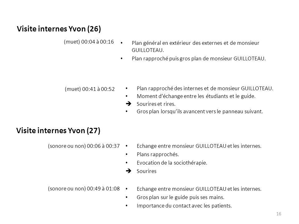 Visite internes Yvon (26) Plan général en extérieur des externes et de monsieur GUILLOTEAU. Plan rapproché puis gros plan de monsieur GUILLOTEAU. (mue