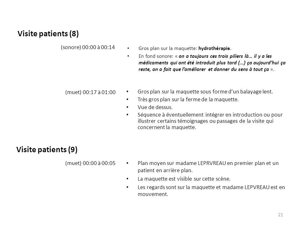 Visite patients (8) Gros plan sur la maquette: hydrothérapie. En fond sonore: « on a toujours ces trois piliers là… il y a les médicaments qui ont été