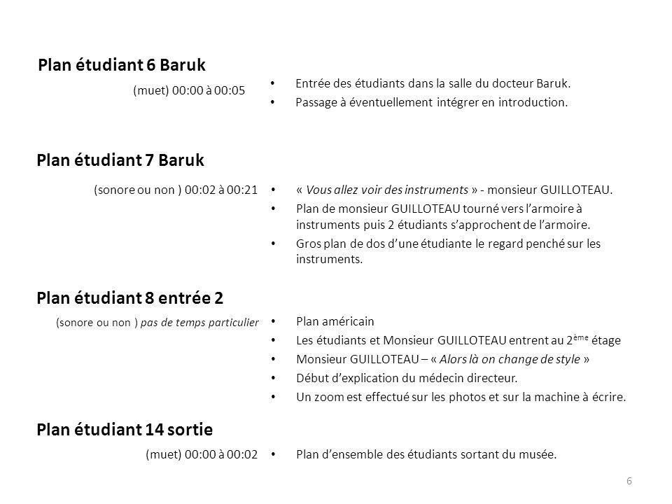 Plan étudiant 6 Baruk Entrée des étudiants dans la salle du docteur Baruk. Passage à éventuellement intégrer en introduction. (muet) 00:00 à 00:05 « V