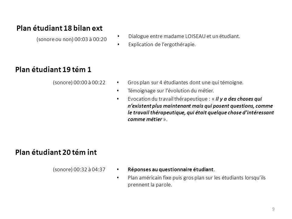 Plan étudiant 18 bilan ext Dialogue entre madame LOISEAU et un étudiant. Explication de l'ergothérapie. (sonore ou non) 00:03 à 00:20 Gros plan sur 4