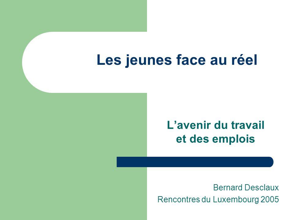 Les jeunes face au réel L'avenir du travail et des emplois Bernard Desclaux Rencontres du Luxembourg 2005