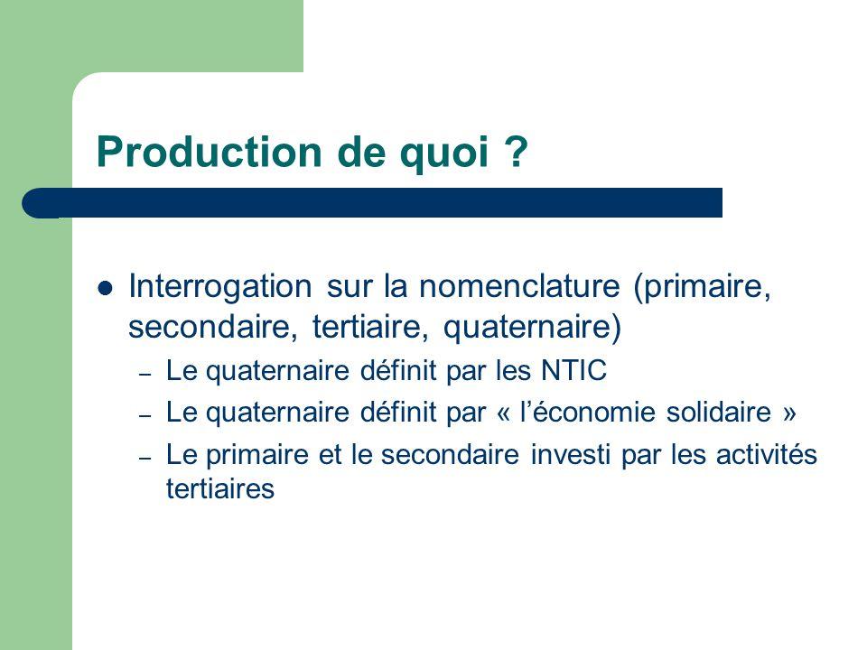 Production de quoi ? Interrogation sur la nomenclature (primaire, secondaire, tertiaire, quaternaire) – Le quaternaire définit par les NTIC – Le quate