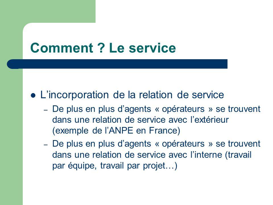 Comment ? Le service L'incorporation de la relation de service – De plus en plus d'agents « opérateurs » se trouvent dans une relation de service avec