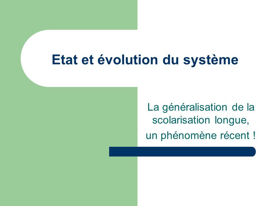 Etat et évolution du système La généralisation de la scolarisation longue, un phénomène récent !
