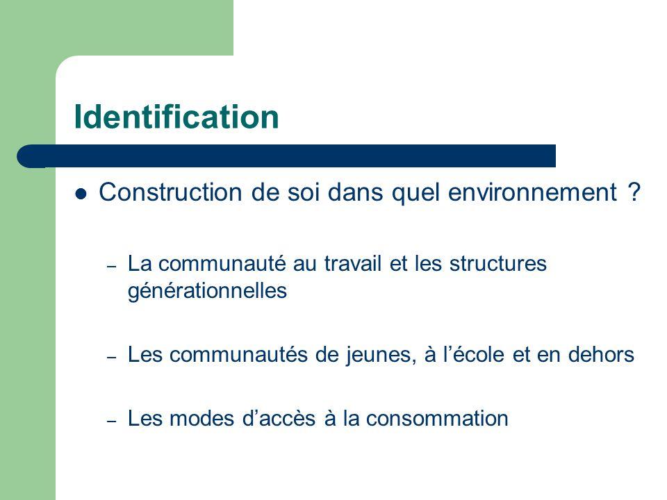 Identification Construction de soi dans quel environnement ? – La communauté au travail et les structures générationnelles – Les communautés de jeunes