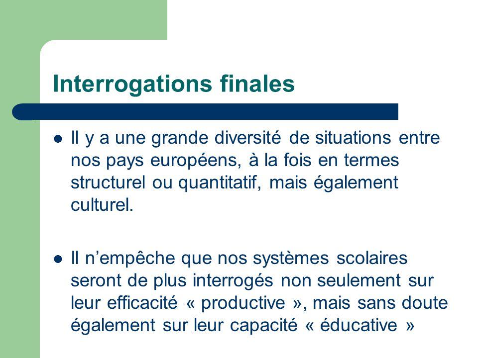 Interrogations finales Il y a une grande diversité de situations entre nos pays européens, à la fois en termes structurel ou quantitatif, mais égaleme