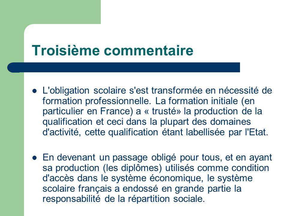 Troisième commentaire L'obligation scolaire s'est transformée en nécessité de formation professionnelle. La formation initiale (en particulier en Fran
