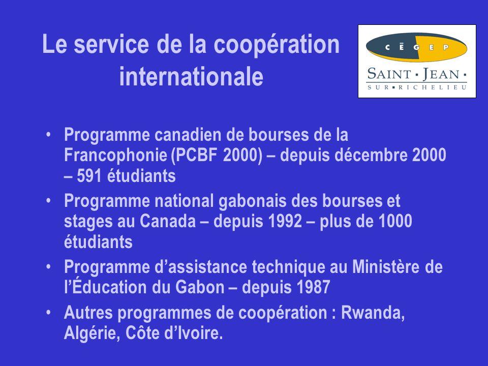 Le service de la coopération internationale Programme canadien de bourses de la Francophonie (PCBF 2000) – depuis décembre 2000 – 591 étudiants Programme national gabonais des bourses et stages au Canada – depuis 1992 – plus de 1000 étudiants Programme d'assistance technique au Ministère de l'Éducation du Gabon – depuis 1987 Autres programmes de coopération : Rwanda, Algérie, Côte d'Ivoire.
