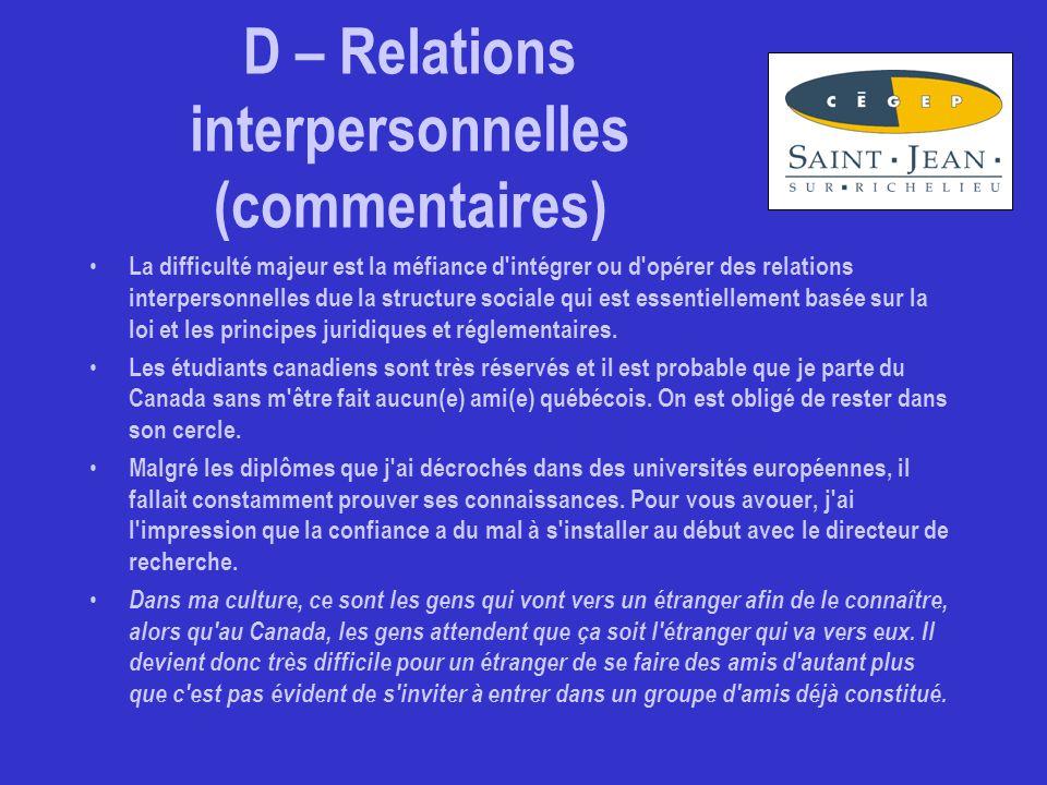 D – Relations interpersonnelles (commentaires) La difficulté majeur est la méfiance d intégrer ou d opérer des relations interpersonnelles due la structure sociale qui est essentiellement basée sur la loi et les principes juridiques et réglementaires.