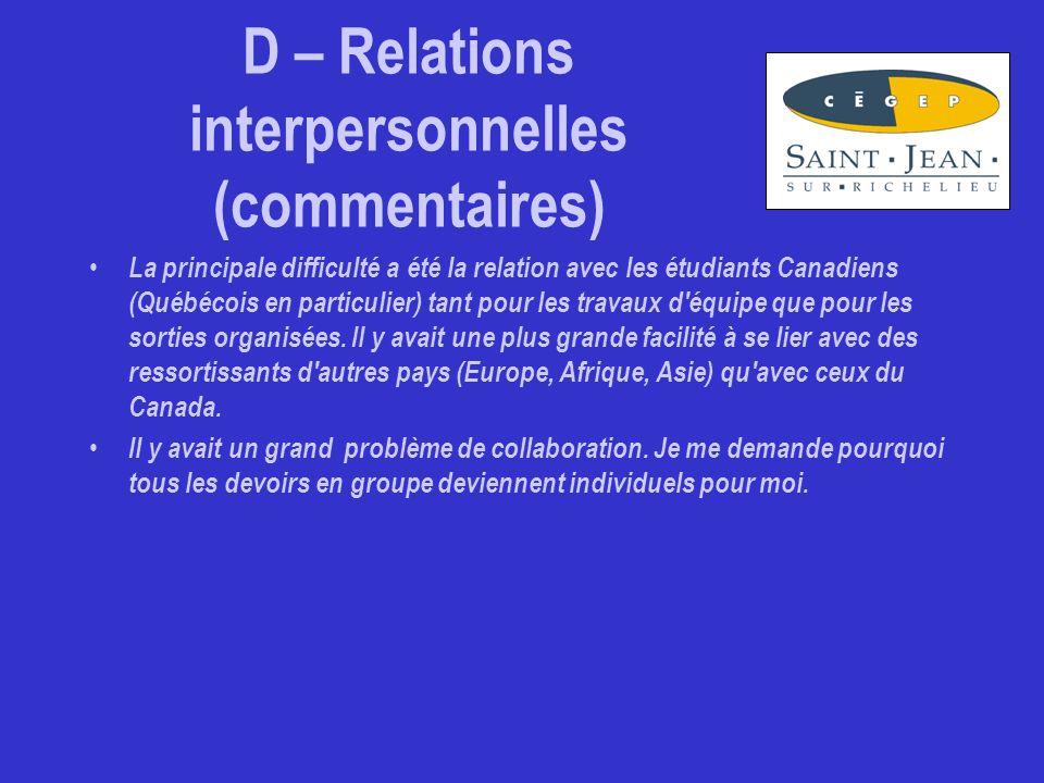 D – Relations interpersonnelles (commentaires) La principale difficulté a été la relation avec les étudiants Canadiens (Québécois en particulier) tant pour les travaux d équipe que pour les sorties organisées.