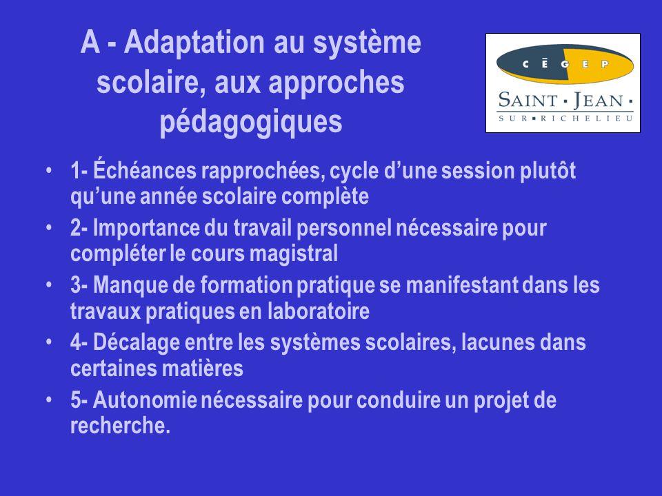 A - Adaptation au système scolaire, aux approches pédagogiques (commentaires) Difficile au départ de s adapter en partant à un mode d apprentissage par problèmes et projets en ingénierie.