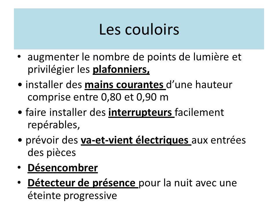 Les couloirs augmenter le nombre de points de lumière et privilégier les plafonniers, installer des mains courantes d'une hauteur comprise entre 0,80