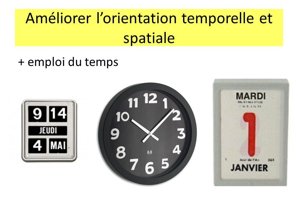 Améliorer l'orientation temporelle et spatiale + emploi du temps