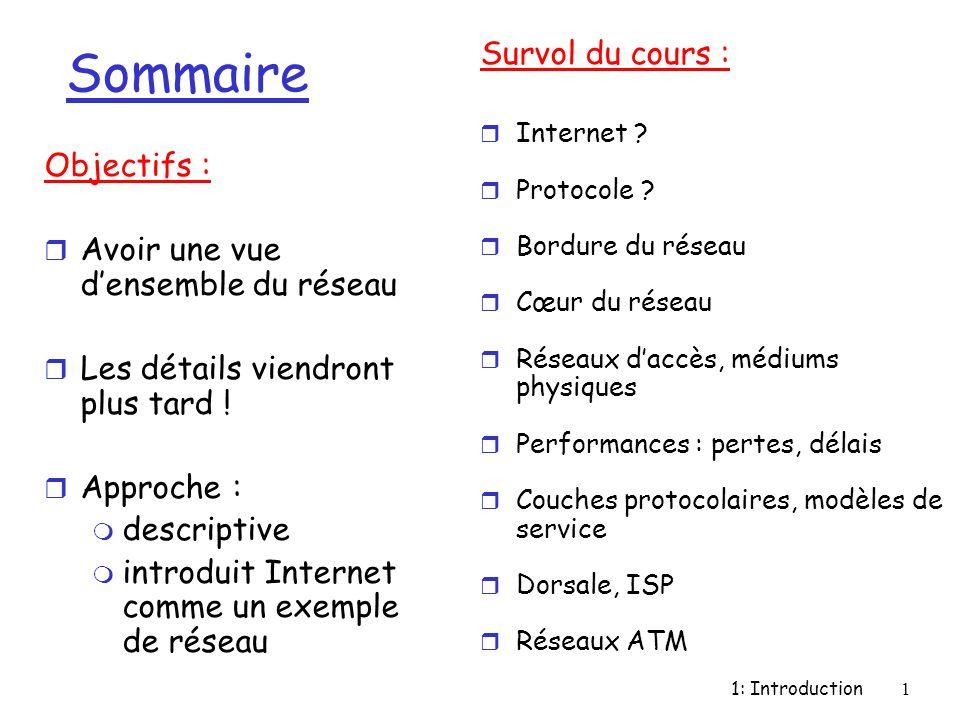 1: Introduction1 Sommaire Objectifs : r Avoir une vue d'ensemble du réseau r Les détails viendront plus tard ! r Approche : m descriptive m introduit