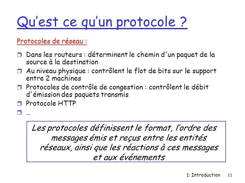 1: Introduction11 Qu'est ce qu'un protocole ? Protocoles de réseau : r Dans les routeurs : déterminent le chemin d'un paquet de la source à la destina