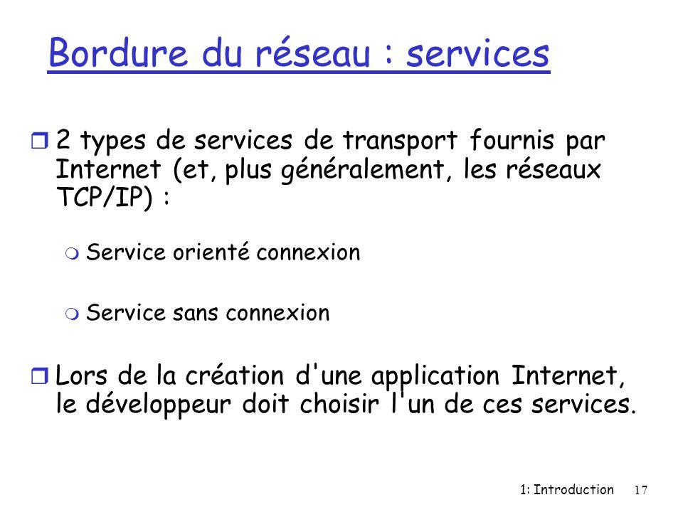1: Introduction17 Bordure du réseau : services r 2 types de services de transport fournis par Internet (et, plus généralement, les réseaux TCP/IP) : m