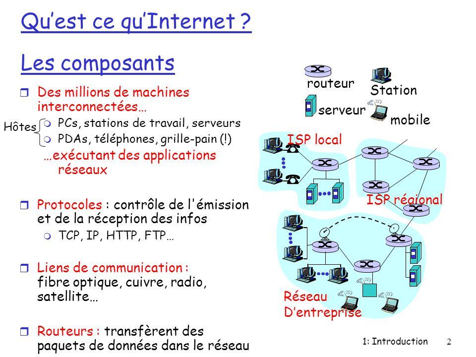 1: Introduction2 Qu'est ce qu'Internet ? Les composants r Des millions de machines interconnectées… m PCs, stations de travail, serveurs m PDAs, télép