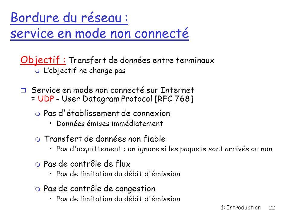 1: Introduction22 Bordure du réseau : service en mode non connecté Objectif : Transfert de données entre terminaux m L'objectif ne change pas r Servic