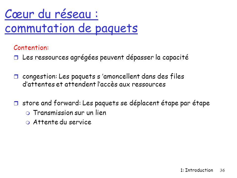 1: Introduction36 Cœur du réseau : commutation de paquets Contention: r Les ressources agrégées peuvent dépasser la capacité r congestion: Les paquets