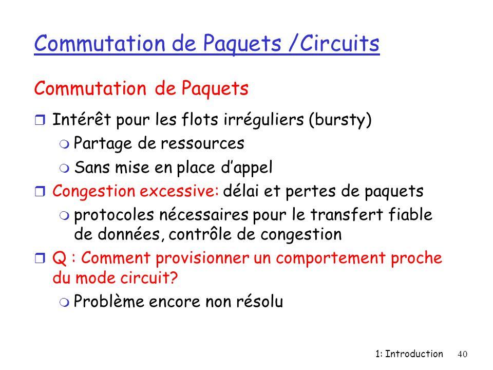 1: Introduction40 Commutation de Paquets /Circuits r Intérêt pour les flots irréguliers (bursty) m Partage de ressources m Sans mise en place d'appel