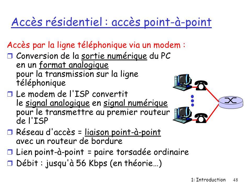 1: Introduction48 Accès résidentiel : accès point-à-point Accès par la ligne téléphonique via un modem : r Conversion de la sortie numérique du PC en