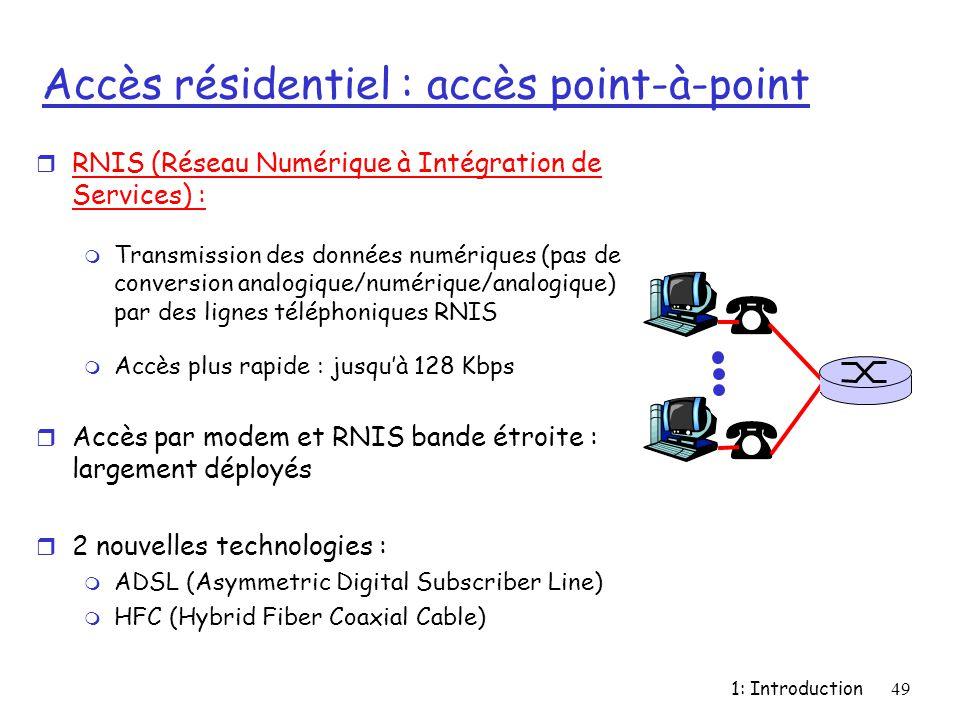 1: Introduction49 Accès résidentiel : accès point-à-point r RNIS (Réseau Numérique à Intégration de Services) : m Transmission des données numériques