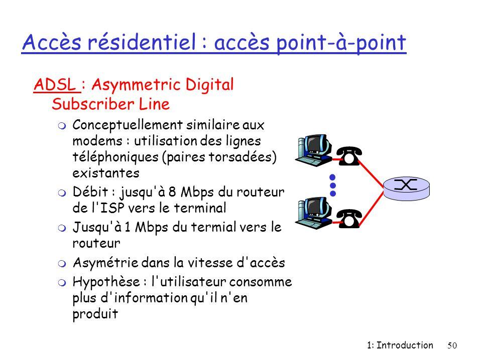 1: Introduction50 Accès résidentiel : accès point-à-point ADSL : Asymmetric Digital Subscriber Line m Conceptuellement similaire aux modems : utilisat