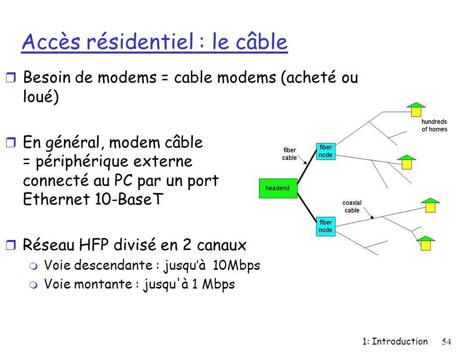 1: Introduction54 Accès résidentiel : le câble r Besoin de modems = cable modems (acheté ou loué) r En général, modem câble = périphérique externe con