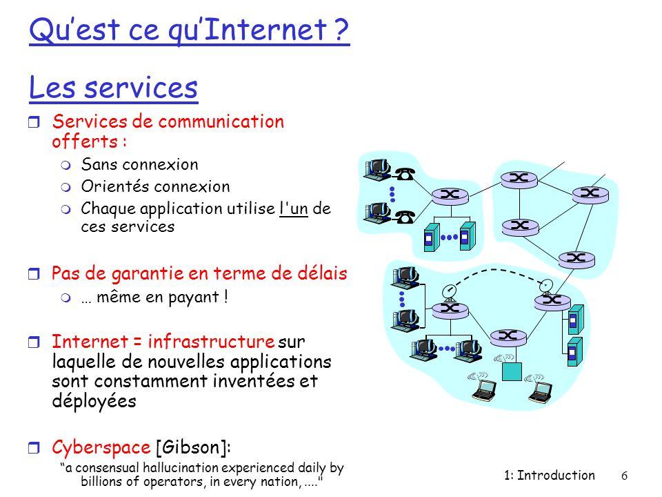 1: Introduction6 Qu'est ce qu'Internet ? Les services r Services de communication offerts : m Sans connexion m Orientés connexion m Chaque application