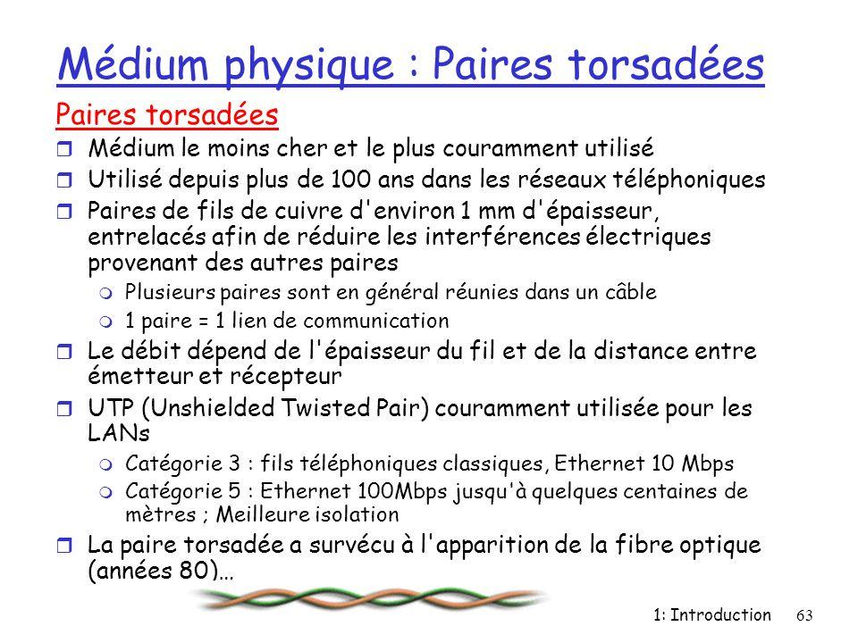 1: Introduction63 Médium physique : Paires torsadées Paires torsadées r Médium le moins cher et le plus couramment utilisé r Utilisé depuis plus de 10