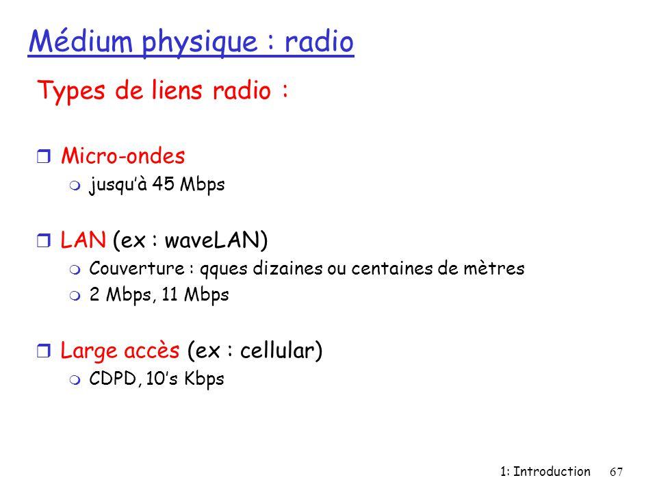 1: Introduction67 Médium physique : radio Types de liens radio : r Micro-ondes m jusqu'à 45 Mbps r LAN (ex : waveLAN) m Couverture : qques dizaines ou
