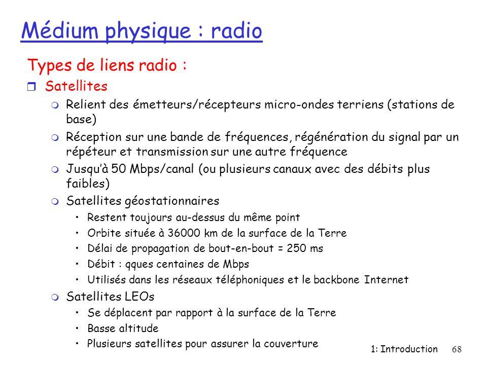 1: Introduction68 Médium physique : radio Types de liens radio : r Satellites m Relient des émetteurs/récepteurs micro-ondes terriens (stations de bas