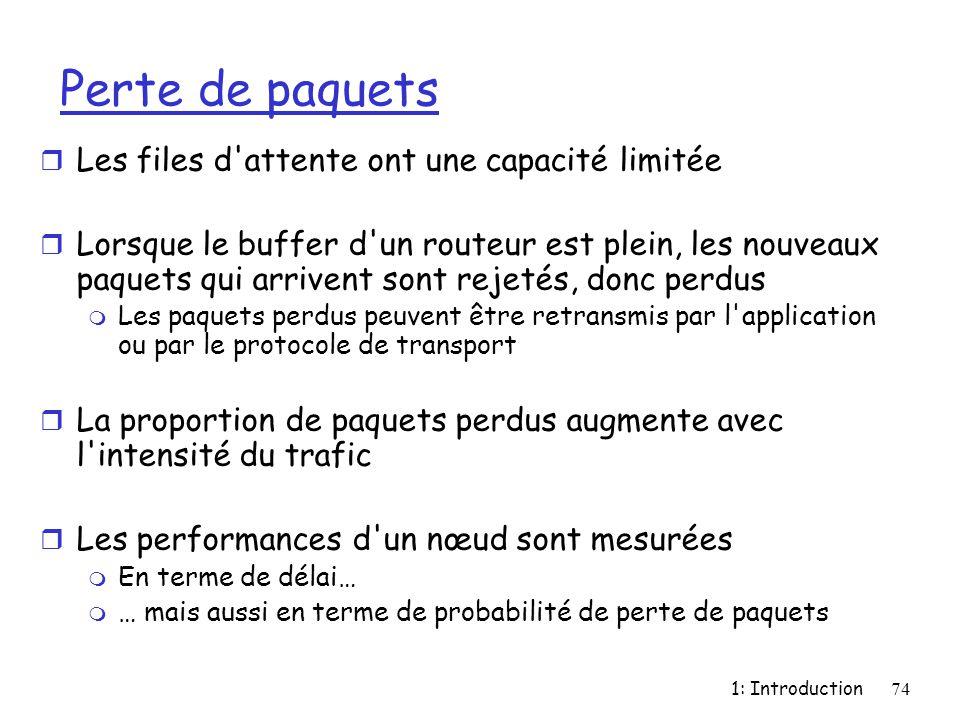 1: Introduction74 Perte de paquets r Les files d'attente ont une capacité limitée r Lorsque le buffer d'un routeur est plein, les nouveaux paquets qui