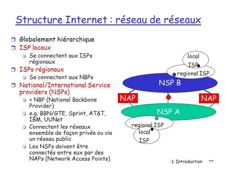 1: Introduction77 Structure Internet : réseau de réseaux r Globalement hiérarchique r ISP locaux m Se connectent aux ISPs régionaux r ISPs régionaux m